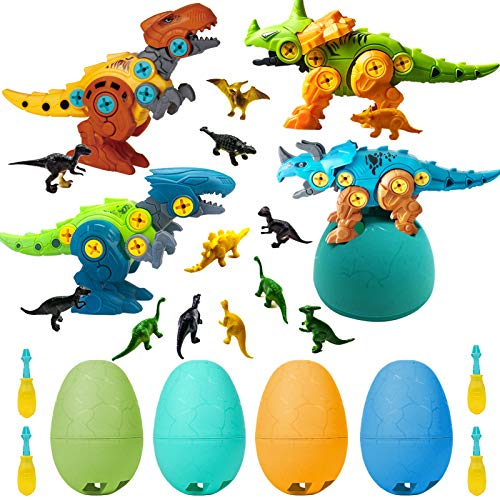 Take Apart Dinosaur Toys for Boys - Building Toy Set Colorful Dino Easter Egg Decorator with Screwdriver Tool Construction Engineering Play Kit STEM Learning for Kids Boys Girls Age 3 4 5 6 Year Old