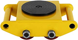 Heavy Duty Machine Dolly Skate Machinery Roller Mover Cargo Trolley 6Ton 13200lb, w/Steel Rollers Cap 360 Degree Rotation,Yellow