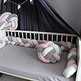 Baby Crib Bumper Knotted Braided Plush Nursery Cradle Decor Newborn Gift Pillow Cushion Junior Handmade Bed Sleep Bumper Pink+Gray+White 157 inch
