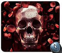 バラの花びらスカル赤暗い背景マウスパッドマットマウスパッドホットギフト