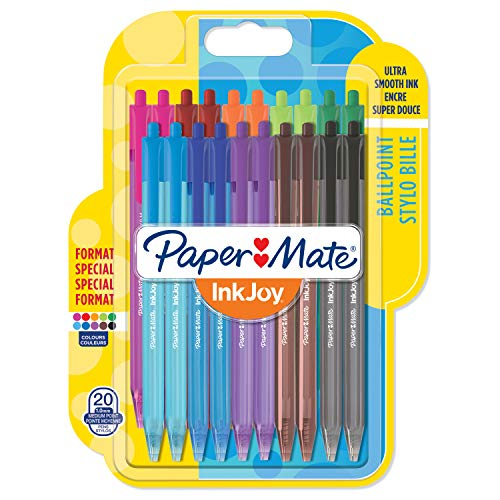 Papermate InkJoy 100 Penna a Sfera a Scatto, Punta Media da 1.0 mm, Confezione da 20, Colori Assortiti