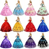 ZITA ELEMENT Lot 6 Pcs 11.5 Inch Girl Doll Party Dress Gown Clothes for 11.5 Inch Girl Doll Clothes Outfits - Fashion Handmade Dresses for 11.5 Inch Girl Doll Wedding Evening Party Dressing