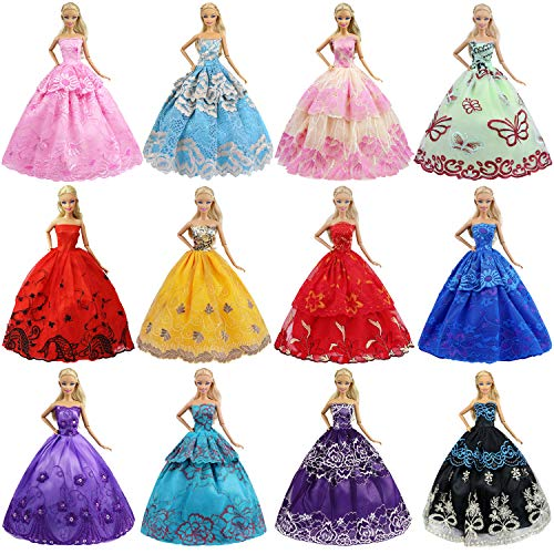 ZITA ELEMENT® Lot 6 PCS Fashion Handmade Clothes Dress for Barbie Doll Xmas Gift