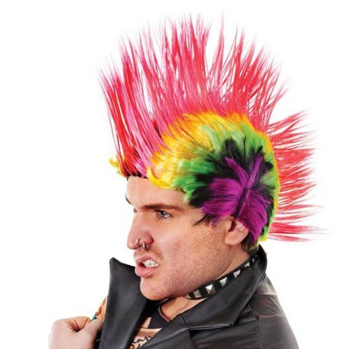 Homme Années 80 années 70 Rouge/bleu/Multi Spike Punk Rock Costume Mohican perruque perruque