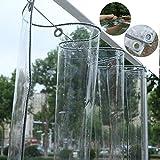 Lona Transparente Impermeable,Parabrisas de Balcón Cortinas PVC con Ojales,para Plantas de Muebles de Jardín Invernadero Techo de Estantería para Mascotas Lona de Protección (2.4x5m/7.9x16.4ft,0.3mm)