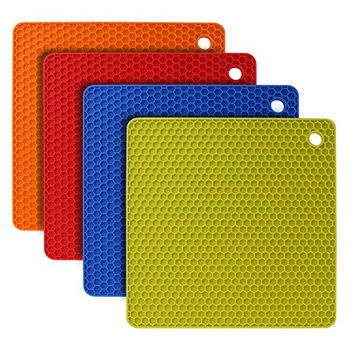 flintronic Sottopentola Silicone Set di 4, Presine in Silicone da Cucina Forma di Alveare, Resistente al Calore Fino a 250 °C, Lavabile in Lavastoviglie, Multifunzione - Colorato