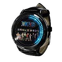 ワンピース LED ウォッチコスプレアニメファッションカジュアルレザーウォッチ人気のベルト耐久性ウォッチウ 3D 防水ユニセックスギフトウォッチ