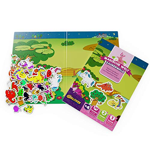 Galoxee Libro magnético con dos grandes escenas de juego, imanes extra muchos niños (28 unidades), juego de viaje magnético con funda, a partir de 4 años