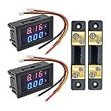 Aideepen 2pcs Digital Volt Amp Voltmeter Ammeter Meter DC 100V/50A Dual LED Voltage Amperage Current Meter Tester Panel with 50A 75mV Shunt(Red&Blue)