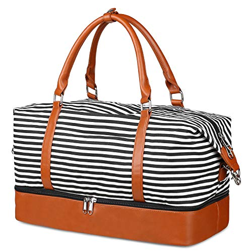 Women Weekender Bag,Overnight Travel Duffle Tote Bags,Holdall Handbag with PU Leather Decoration,Large Capacity Canvas Bag,Crossbody Satchel with Shoe Compartment (White/Black Stripes)