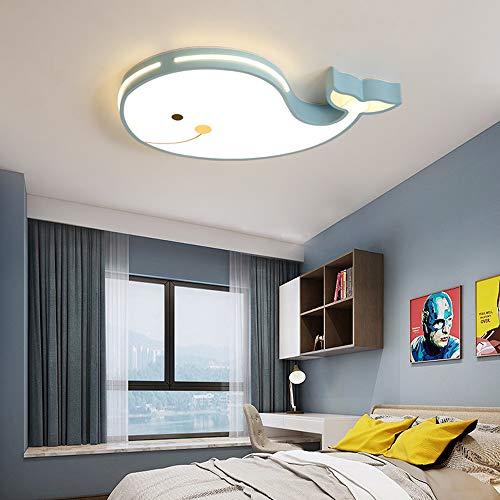 LED Plafoniera dimmerabile Plafoniera Soffitto pesce design Lampada da vivaio Camera da letto asilo Lampada 60CM Lampada per bambini ferro telaio acrilico Paralume incl telecomando 24W,Blu