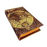 レトロなアンティーク調ブックボックス(木製収納箱)小物入れ 洋書型 アンティーク風 世界地図