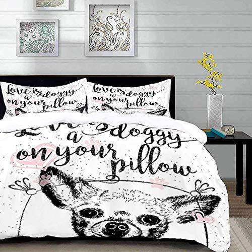 ropa de cama: juego de funda nórdica, palabras divertidas, cita de amor sobre perros, cachorro amistoso con corazones, caligrafía sucia, blanco negro y funda de edredón de microfibra con 2 fundas de a