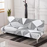 LiveGo Armless Futon Slipcovers Stretch Folding Sofa Bed Cover with Elastic Bottom, Printed Fitted Couch Cover Furniture Protector for Pets, Kids