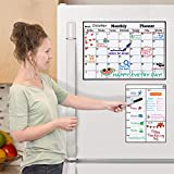 Magnetic Calendar Dry Erase Whiteboard for Fridge, 2020 Weekly and Monthly Meal Planner Set, White Board Memo with Strong Magnet for Kitchen Refrigerator Meeting Room