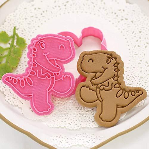 Elibeauty 3D-Ausstechformen-Set, druckbar, Dinosaurier-Motiv, geprägt, für Küche, Gebäck, Backen (Typ 4)