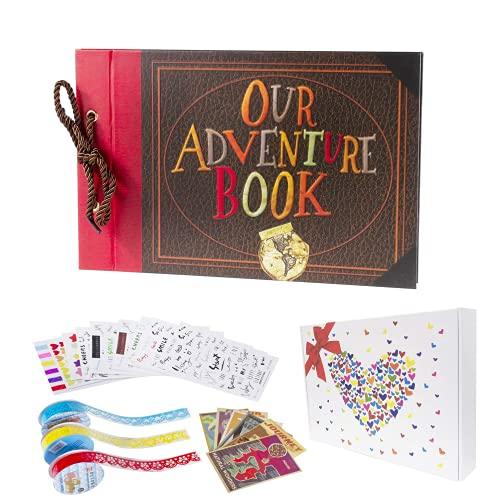 Pulaisen Adventure Book Scrapbook Up Movie DIY Jahrestag handgefertigt DIY Familie Retro Foto Album Scrapbook mit Aufbewahrungsbox Geschenkbox, Adventure Book with Gift Box