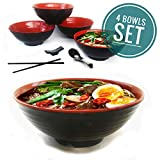 Vallenwood 4 Noodle Bowl (16 piece) Melamine Large Ramen Bowls Set. Asian Chinese Japanese or Pho Soup 32oz. With Spoons, Chopsticks and Stands Complete Dinnerware. Thai Miso Udon wonton soup.