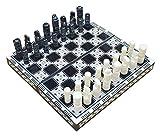 L.J.JZDY Tablero de ajedrez Ajedrez Hecho a Mano y Backgammon en Egipto Dos Sets en uno de 35 x 35 x 4 cm (Fondo marrón) (Color : Negro, Size : 35 * 35)