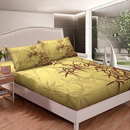 Juego de cama con estampado de bambú, sábana bajera ajustable para niños, mujeres, estilo chino, flores, ramas de árbol, decoración de habitación, 2 piezas, con 1 funda de almohada, tamaño individual