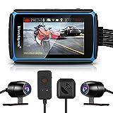 Blueskysea Dash CAM para Motocicleta, DV988 Cámara Deportiva de Motocicleta 1080P 36fps Lente Dual de Gran Angular 140° Impermeable Grabadoración en Bucle con 4' Pantall Táctil y GPS