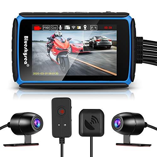 Blueskysea DV988 Motorrad Dash Cam Kamera 1080p 30fps Doppelobjektiv Weitwinkel 140° Motorrad Camcorder Aufnahme DVR mit 4'' IPS Touchscreen wasserdichte IP66 Loop Aufnahme mit GPS-Modus