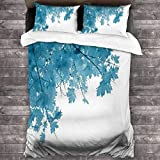 KDRW Copripiumino copripiumino e lenzuola trapunta e copripiumino Blue Leaf 1 Twin Quilt Bedding Set Ultra Soft Microfiber Bedding Quilt Coverlets Lightweight Bedspread Durable Coverlet Quilts for All