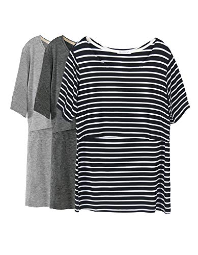 Smallshow 3 Pcs Maternity Nursing T-Shirt Nursing Tops Black Stripe-Dim Grey-Grey Medium