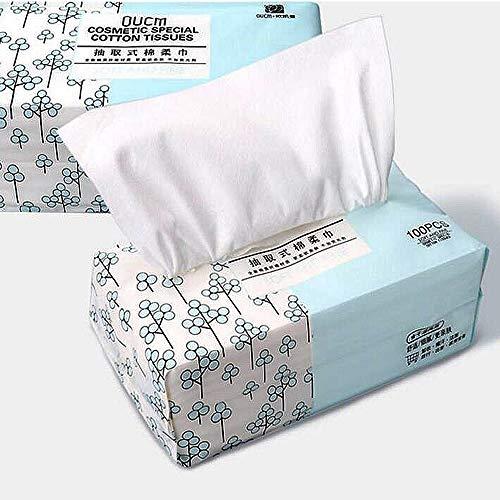 OUGEER 1 Pack 100% weiche Wattepad, abnehmbare Einweg-Gesichtsreinigung Handtuch Baumwolle Vlies Pad, Mehrzweck-Einweg-Gesichtstuch, Entfernen von Make-up und Reinigung von Oberflächen