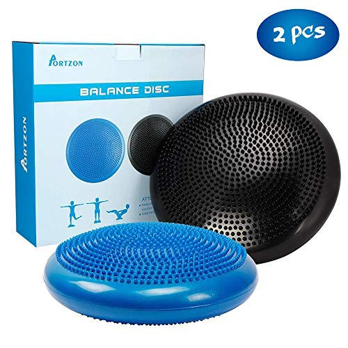 Portzon Wobble Cushion for Exercise Balance Stability Disc with Hand Pump, Black/Blue