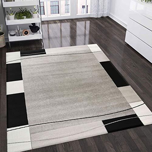 VIMODA Teppich Kariert Retro Muster Meliert in Grau, Weiß und Schwarz Schlafzimmer Wohnzimmer Flur - ÖKO TEX Zertifiziert, Maße:160x230 cm