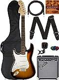 Fender Squier Affinity Stratocaster, Left Handed - Brown Sunburst Bundle with Frontman 10G Amplifier, Gig Bag, Instrument Cable, Tuner, Strap, Picks, and Austin Bazaar Instructional DVD