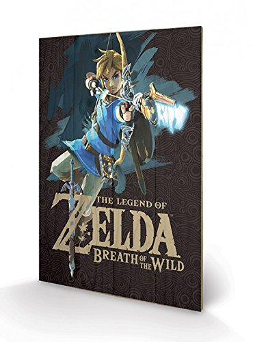 Preisvergleich Produktbild 1art1 The Legend of Zelda - Breath of The Wild,  Game Cover Poster Auf Holz 60 x 40 cm