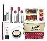 EOD Stylish Women's Makeup Kit 2 Pcs Creamy Matte Lipsticks, 1 Matt Eyeshadow,1 kohal Kajal,1 C.C Cream,1 Lip Pencil,1 Waterproof Kajal,1 Compact With Pouch Combo 01-10