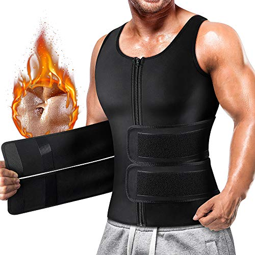 Cimkiz Sauna Sweat Vest Body Shaper for Mens Waist Trainer Zipper Neoprene Sauna Suit Tank Top (Black with Belt, Small)