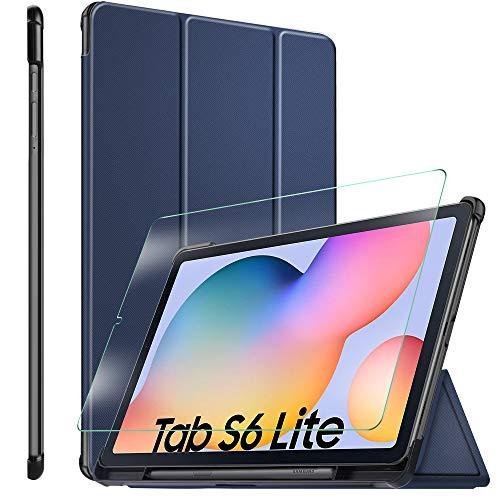 ELTD Custodia Cover+Pellicola Protettiva [Combinazione] per Samsung Galaxy Tab S6 Lite, Stand Case Cover+ 9H, 2,5D Vetro Temperato Pellicola per Samsung Galaxy Tab S6 Lite 10.4, (BLU +1 pack)