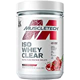 Whey Protein Powder | MuscleTech Clear Whey Protein Isolate | Whey Isolate Protein Powder for Women & Men | Clear Protein Drink | 22g of Protein, 90 Calories | Arctic Cherry Blast, 1.1lb (19 Servings)