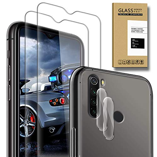 SAMCASE [2 Pack] Protector de Pantalla para Xiaomi Redmi Note 8 y [2 Pack] Protector de Lente de cámara, Cristal Templado [9H Dureza] [Sin Burbujas] [Anti-Arañazos] HD Cristal Vidrio Templado