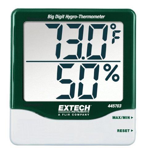 Extech 445703 Higro-termómetro con dígitos grandes, con memoria de lecturas Mín/Máx