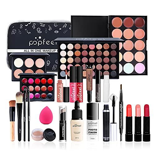 All in One Makeup Kit Makeup Kit for Women Full Kit Multipurpose Makeup Kit-Makeup Brush Set,Eyeshadow Palette,Lip Gloss Set, Makeup Bag,Eyebrow Pencil,Mascara and Face Makeup