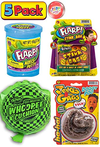 FLARP Kit Set of 4 Prank Games. Self Inflating Whoopee Cushion, Fake Dog Poop, Flarp Noise Putty, Stink Bag and Bouncy Ball. 10041-327-1379-44p