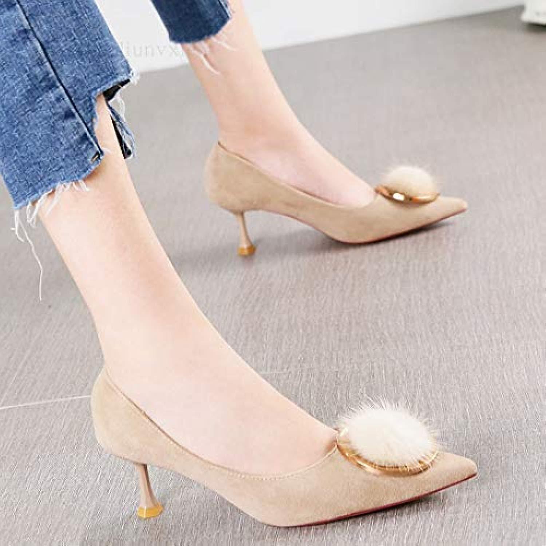 Pumps Joker flachen Mund sexy Metall Schnalle Schnalle einzelne Schuhe Mode Spitze Stiletto High Heels Frauen  Marke