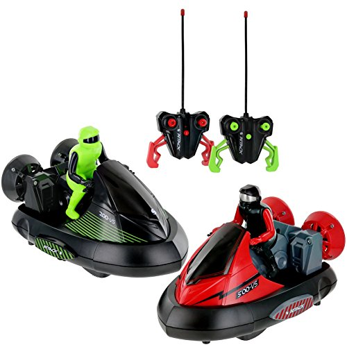 CLICK N' PLAY Set of 2 Stunt Remote Control RC Battle Bumper Cars with...