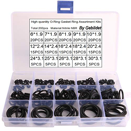 Gebildet 200pcs Dichtungsringe Set O Ringe Sortiment,NBR Gummi Dichtungen Ringe 15 Verschiedene Sortiment mit Durchmesser 6-30mm Gummiringe