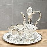 WANZPITS Thé de Turkish Set avec Théière Tasse Coupe Vintage Turkish Metal Coffee Pots Set Tea Service Cadeau Set pour Mariage,Argent