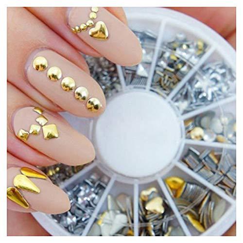 VAGA Nagelset für Nail Art Werkzeugkoffer mit 3D Metallplatte Deko Studs Mix zum Aufkleben auf Nagellack, Silber Gold Dekoration für Nageldesign auf Fingernägel Gel Nägel Nageltips und Kunstnägel