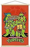 Trends International Nickelodeon Teenage Mutant Ninja Turtles - Pizza Wall Poster with Wooden Magnetic Frame, 22.375' x 34', Premium Print and Beechwood Hanger Bundle
