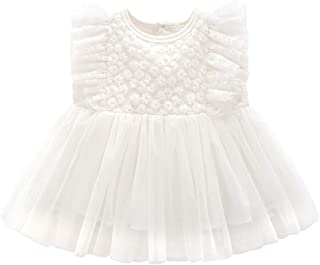 Curipeer Baby Girl Christening Dress Classic Infant Baptism Wedding Tulle Dress for Spring Summer