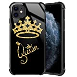 XanaduC iPhone 11 Case, Queen Golden Crown Gold Glitter Stylish iPhone 11 Case for Girls Women Tempered Glass Black Cover + Soft Silicone TPU Shockproof Bumper Case for iPhone 11 (6.1 inch) 2019