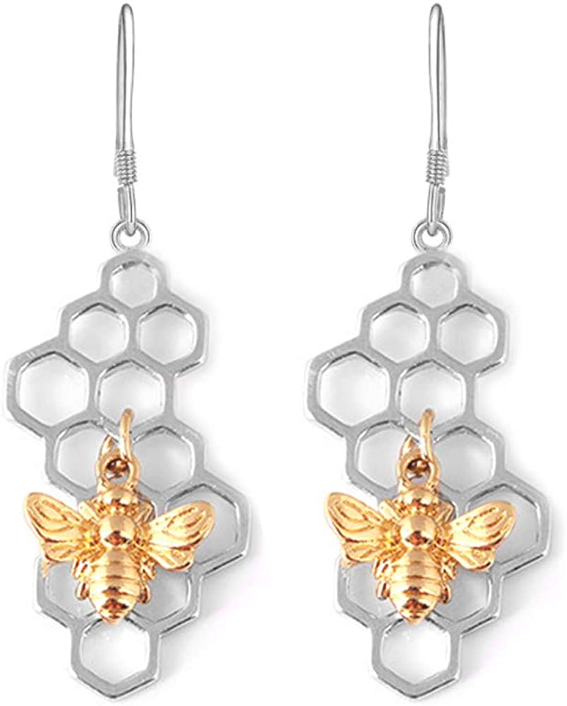 Over item handling ☆ BELUCKIN Honeycomb with famous Bee Dangle Earrings Beehive Silver Gold